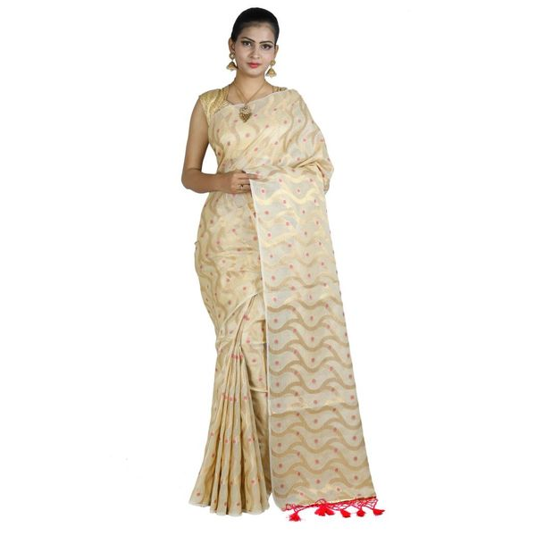 Pure Tissue Cotton Saree with Golden Zari Brocade Blouse 5