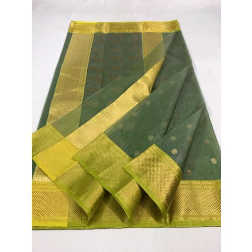Pure Chanderi handloom kataan silk saree with intricate designs all over the border and pallu and butis all over Directly from Weaver 5.5 Metre with 80cm CONTRAST Blouse Piece in running 3