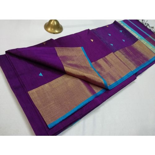 Pure Handloom Maheshwari Saree with Broad Zari Border and Booties Directly from Weaver 5.5 Metre with 80cm CONTRAST Blouse Piece in running 2