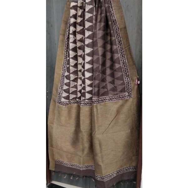 Hand Block Printed Cotton Chanderi Sareewith geecha border 02