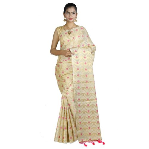 Pure Tissue Cotton Saree with Golden Zari Brocade Blouse 4