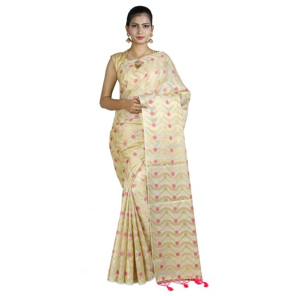 Pure Tissue Cotton Saree with Golden Zari Brocade Blouse 4