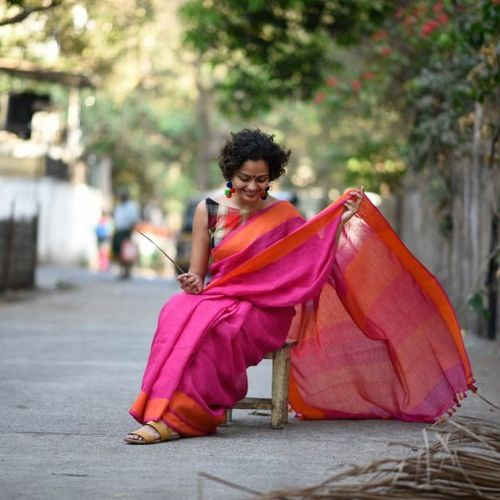 Pure Linen Saree with Contrast Border 7