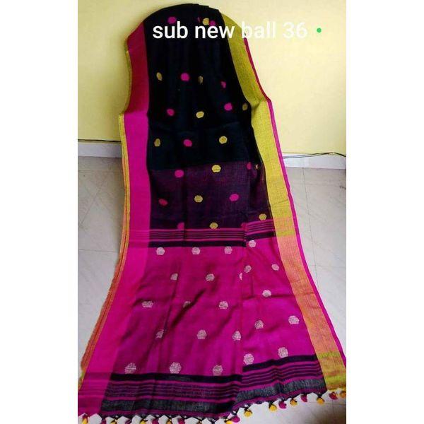 Linen By Linen Ball Butta Jamdani Saree 5.5 Metre with 80cm Blouse Piece 13