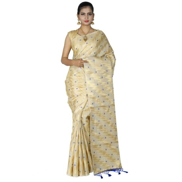 Pure Tissue Cotton Saree with Golden Zari Brocade Blouse 6