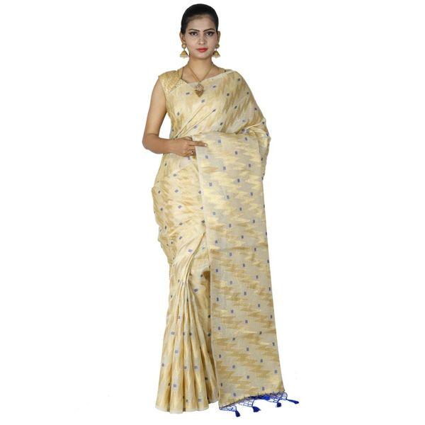 Pure Tissue Cotton Saree with Golden Zari Brocade Blouse 6