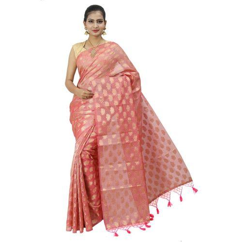 Pure Tissue Cotton Saree with Golden Zari Brocade Blouse 12
