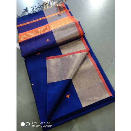 Pure Handloom Maheshwari Saree with Broad Zari Border and Booties Directly from Weaver 5.5 Metre with 80cm CONTRAST Blouse Piece in running 4