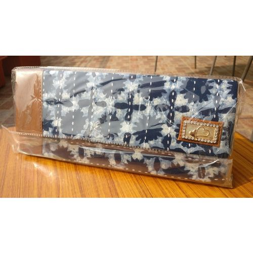 Indigo blue Mulmul Bags with Kantha Stitch Wallets with Chain Hanging 5