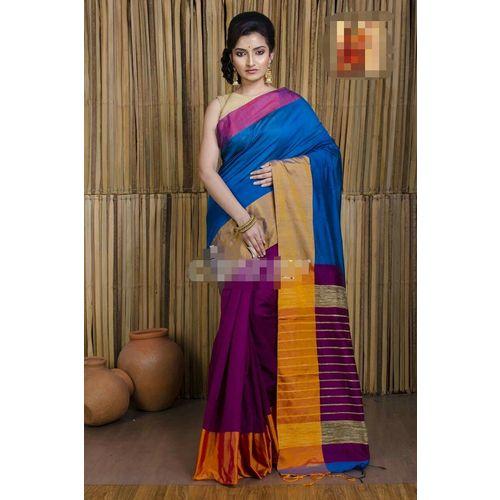 Mahapar Cotton Silk Saree 6.3 metre length with Blouse Piece 3