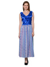 Patrorna Royal Blue With Printed Long Staple Cotton Blouson Nighty (11PA007RB), xl