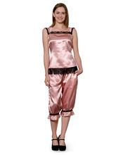 Patrorna Long Length Two Piece Orange Peel Top And Capri Set Night Suit (14PA001OPM), s