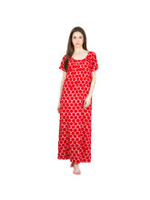 Patrorna Flared Red Printed Shift Nighty (11PA004RD), l