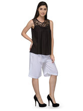 Patrorna Sleeveless Self Design Women's Black Cami Top (6PA029BL), m