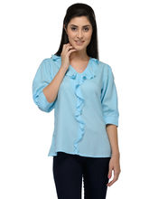 Patrorna Casual 3/4Th Sleeve Self Design Women's Light Blue Crop Top (6PA028OB), 2xl