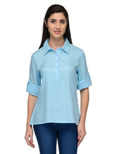 Patrorna Solid Rollup Sleeve Ocean Blue Women's Tunic (6PA032OB), s