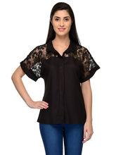 Patrorna Self Design Casual Black Shirt (6PA026BL), l