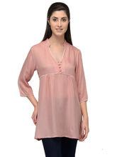Patrorna Peach Mandrain Collar Mossy Cotton Tunic (6PA020PC), s