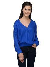 Patrorna Casual Full Sleeve Self Design Women's Blue Top (6PA027RB), 2xl