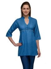 Patrorna Turquoise Mandrain Collar Mossy Cotton Tunic (6PA020TB), xl