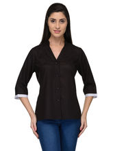 Patrorna Mandarin Collar Casual Viscose Midninght Black Women's Shirt (6PA018BL), m