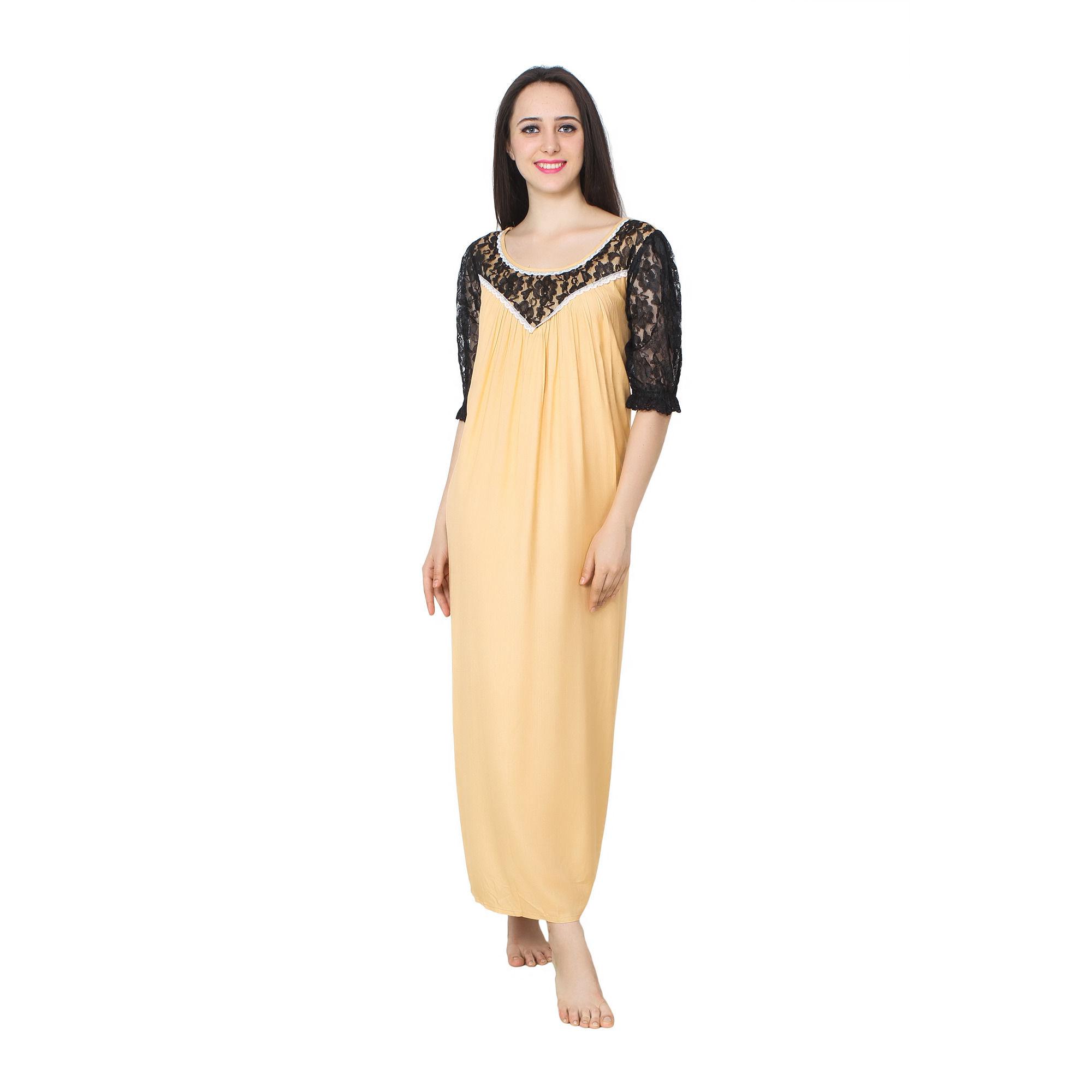 Patrorna Designer Lace Trimmed Blouson N Sleeve Empire Nighty (11PA058GL), 4xl