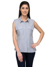 Patrorna Grey Sleeveless Casual Designer Shirt (6PA024GR), xs