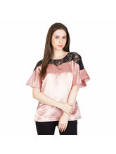 Patrorna Orange Peel Raglan Sleeve With Beautiful Lace All Over Shoulder Top (6PA007OPM), l