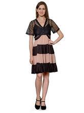Patrorna Peach And Black Flared Dress With Black Designer Shrug (10PA05BLPC), 2xl
