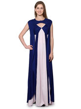 Patrorna Navy Blue And Pink Empire Nighty With Robe (103PA002NBPK), 2xl