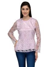 Patrorna Pink Lace N Designer Full Sleeve Women's Peplum Tops (6PA030PK), 2xl