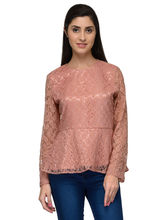 Patrorna Peach Lace N Designer Full Sleeve Women's Peplum Tops (6PA030PC), 2xl