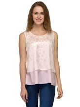 Patrorna Baby Pink Jacquard All Over Flap Crop Top (6PA008PKJQ), l