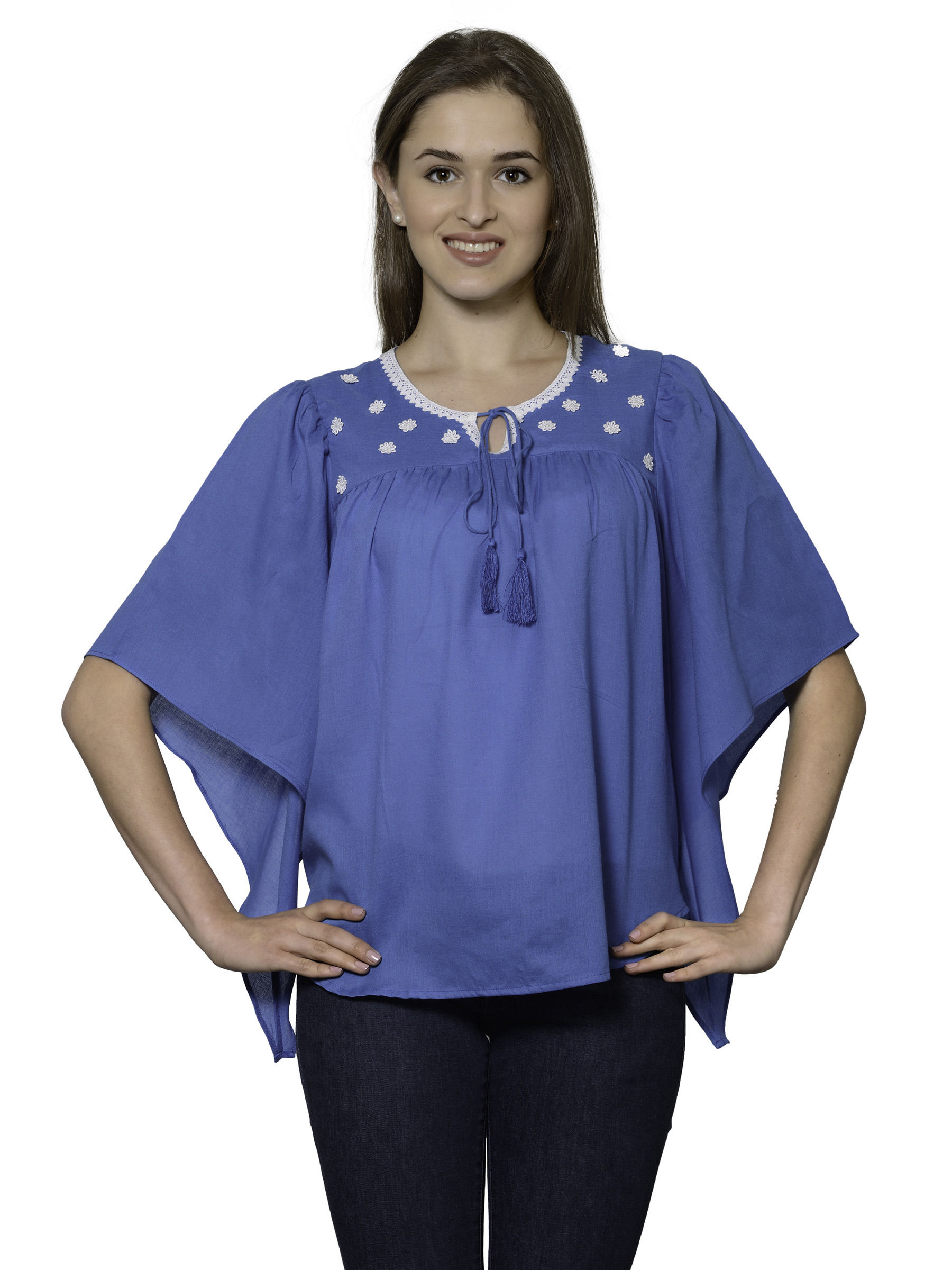 Patrorna Turquoise Butterfly Sleeve Soft Cotton Crop Top (6PA002TB), 4xl
