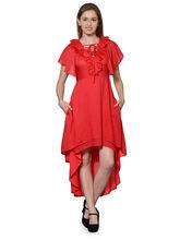 Patrorna Red Flared Cocktail Designer Dress (10PA04RD), xl