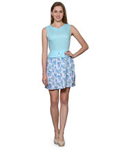 Patrorna Ocean Blue With Multicolor Flare Top Style Dress (10PA06OBMC), xs