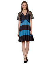 Patrorna Turquoise And Black Flared Dress With Black Designer Shrug (10PA05BLTB), s
