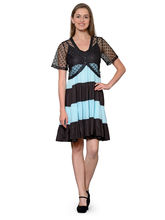 Patrorna Ocean Blue And Black Flared Babydoll Nighty With Black Designer Shrug (14PA04BLOB), l