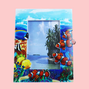 Creative Nemo Fish Design With Sand Effect Resin Photo Frame,  blue, 22.5   1.5   18 cm, ceramic