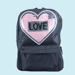 Spike Heart Shape Glitter Fashion Casual Travel Backpack, polyster, 33   25   14 cm,  black