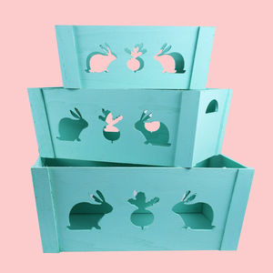 Wooden Square Shape Storage Baskets With Rabit Effect Made From Natural Wood,  light sky blue, set of all 3 size, wooden