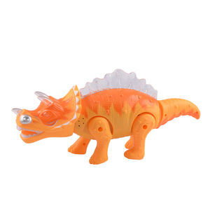 Battery Operated Walking, Moving Dinosaur Toy with Flashing Lights and Realistic Sounds, yellow