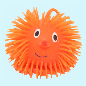 Smile Face Puffer Ball With Flashing Light,  fluorescent orange, thermoplastic rubber