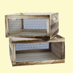 Wooden Square Shape Baskets With Grill Effect Made From Natural Wood,  wood brown, set of all 2 size, wooden