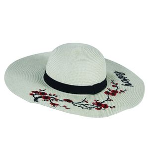 Designer Happy Flower Print Paper Hat for Women,  off white, 38   38   17 cm, jute paper