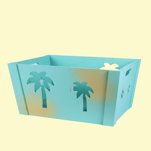 Wooden Square Shape Storage Baskets With Tree Effect Made From Natural Wood, wooden, 35   24.5   16.5 cm,  light sky blue