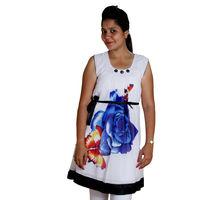 Blue Flower Printed Kurti for Women, xxl,  blue