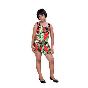 Girl's Poly Cotton 1 Piece Swimsuit, multicolor