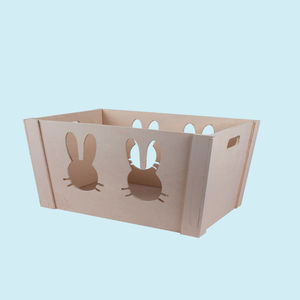Wooden Square Shape Storage Baskets Made From Natural Wood, wooden, 45   34.5   20.5 cm,  off white