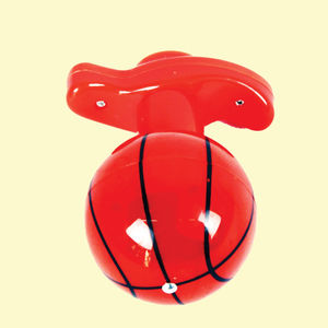 Basket Ball Flash Laser Spinning Top With LED Light, plastic, 12   9   9 cm,  red